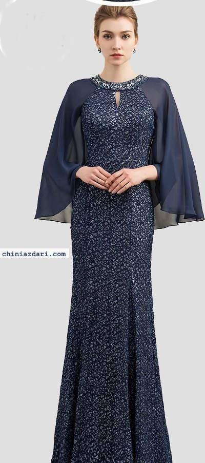 مدل جدید لباس مجلسی بلند پوشیده شنل دار