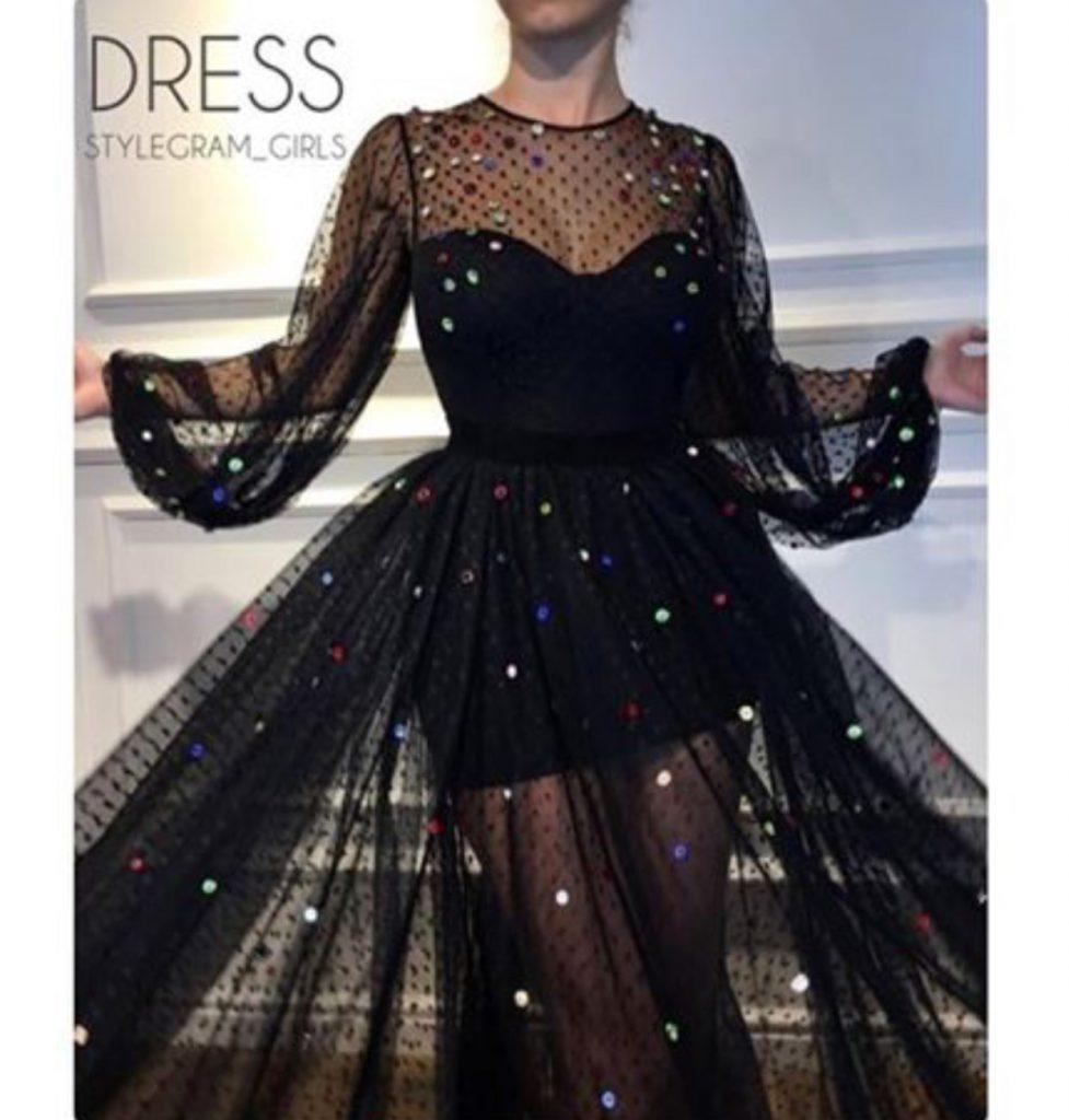 مدل لباس مجلسی کوتاه با پارچه تور طرحدار