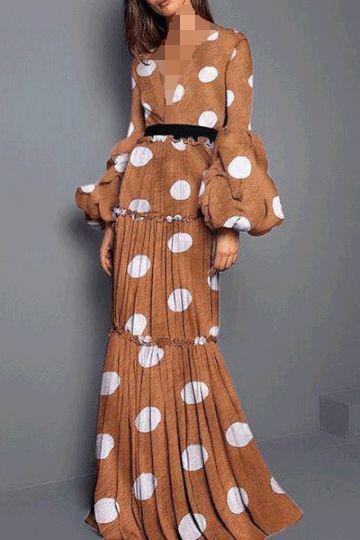 لباس مجلسی بلند پوشیده خال خالی