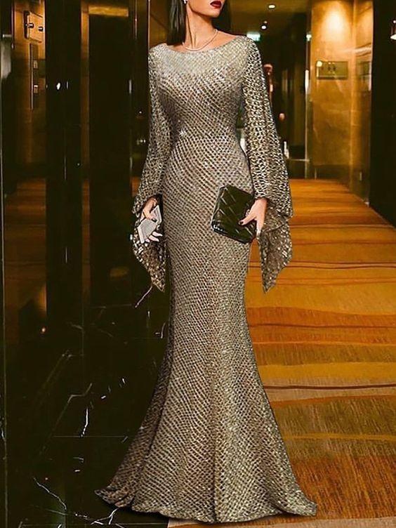 لباس مجلسی بلند پوشیده شاینی