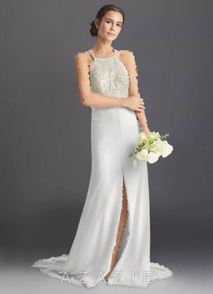 لباس عروس با یقه هالتری مدل جدید سال 2020