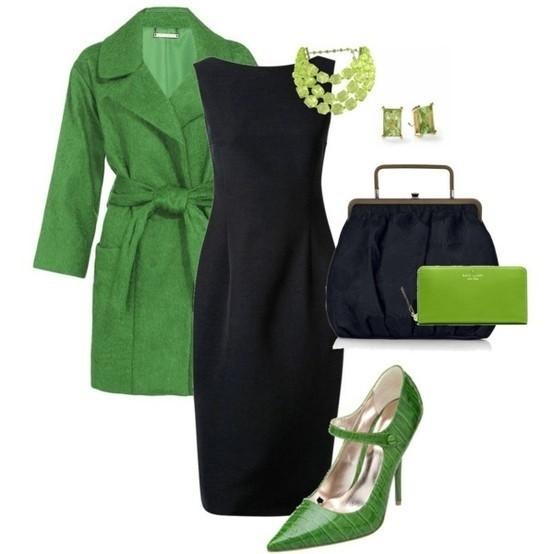 کفش سبز با لباس مجلسی مشکی