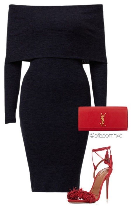 ست کفش قرمز با لباس مجلسی مشکی