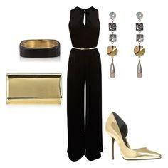 ست کفش طلایی شاینی با لباس مجلسی مشکی