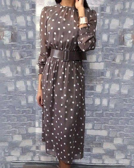 لباس مجلسی خال خالی کمربنددار