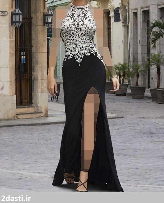 مدل یقه هالتر در لباس های مجلسی زنانه