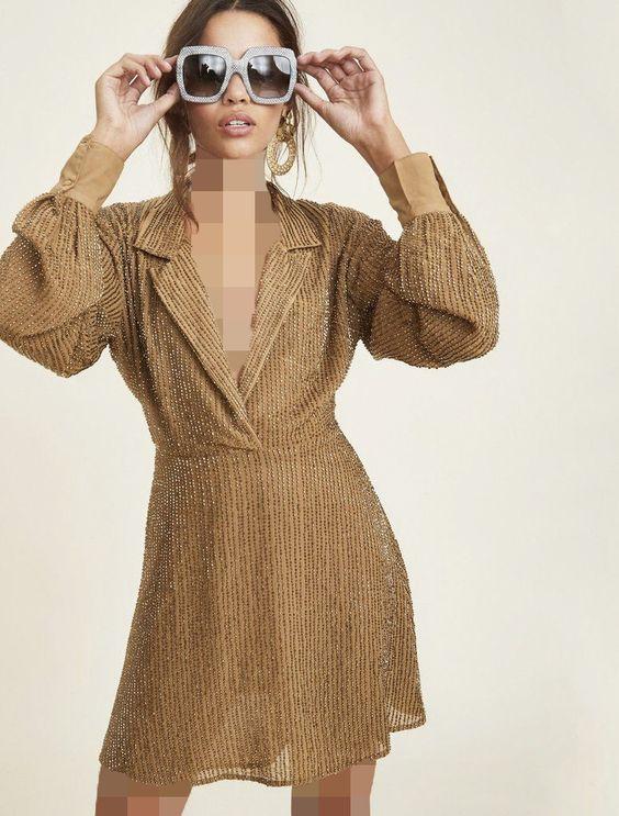 مدل لباس مجلسی چسبان با پارچهی براق