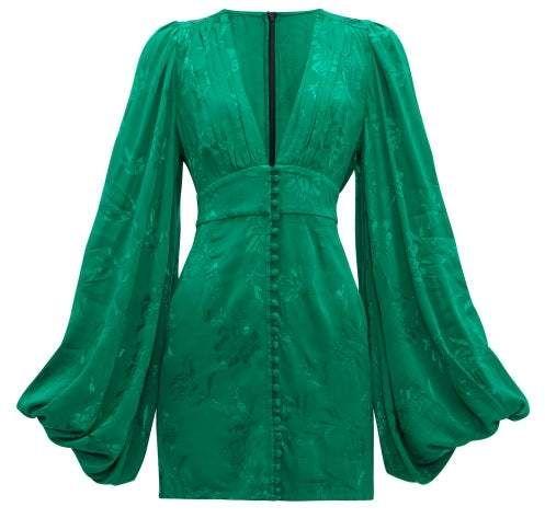 لباس مجلسی آستین پفی ژاکارد