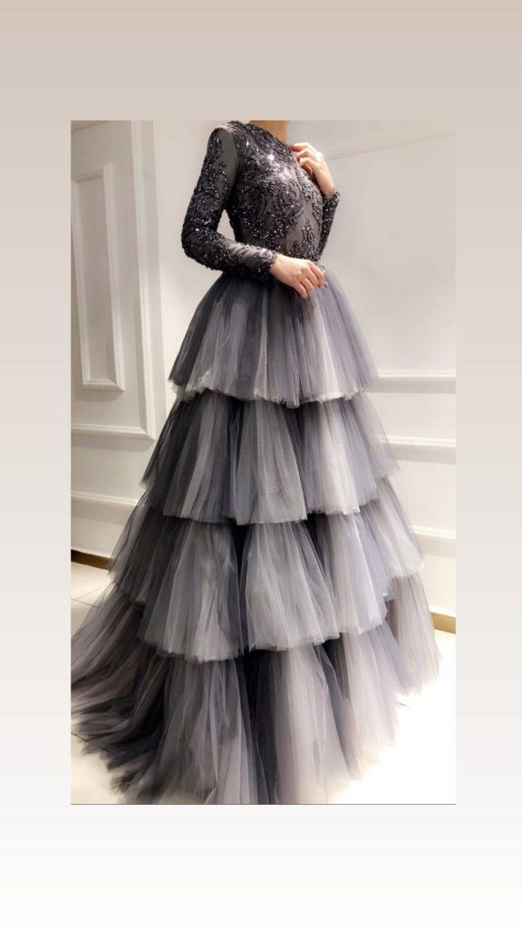 لباس مجلسی پف دار طبقه طبقه