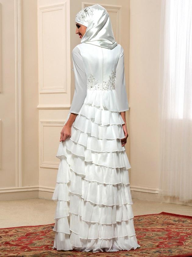 لباس عروس حریر چین دار