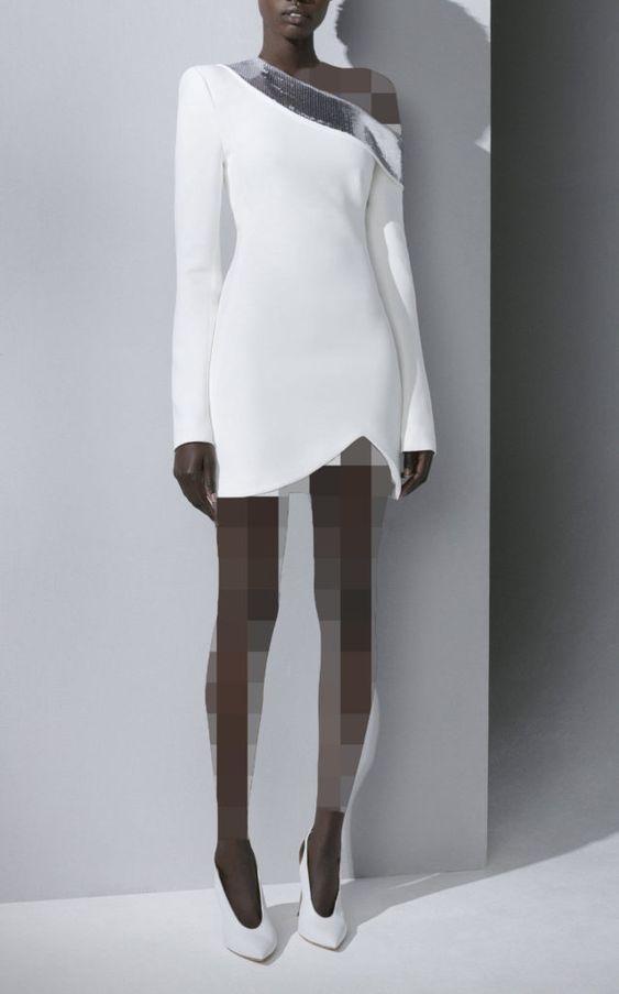 لباس مجلسی کوتاه یقه رومی