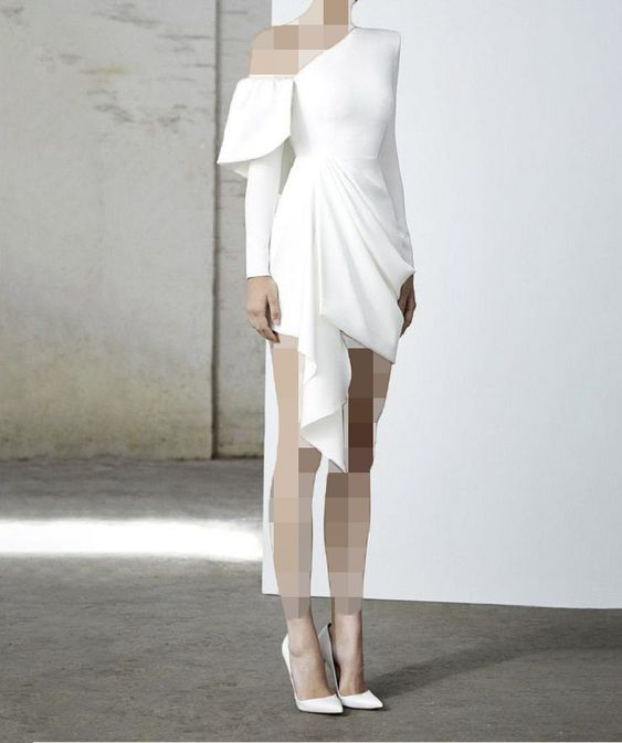 مدل لباس مجلسی کوتاه با یقه رومی