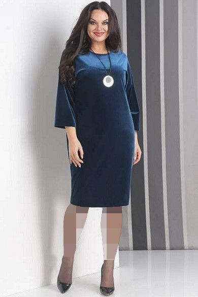 لباس مجلسی تیره با یقه گرد بسته برای خانم های چاق