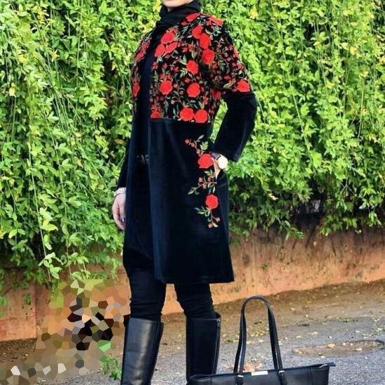 مانتو مخمل گلدار