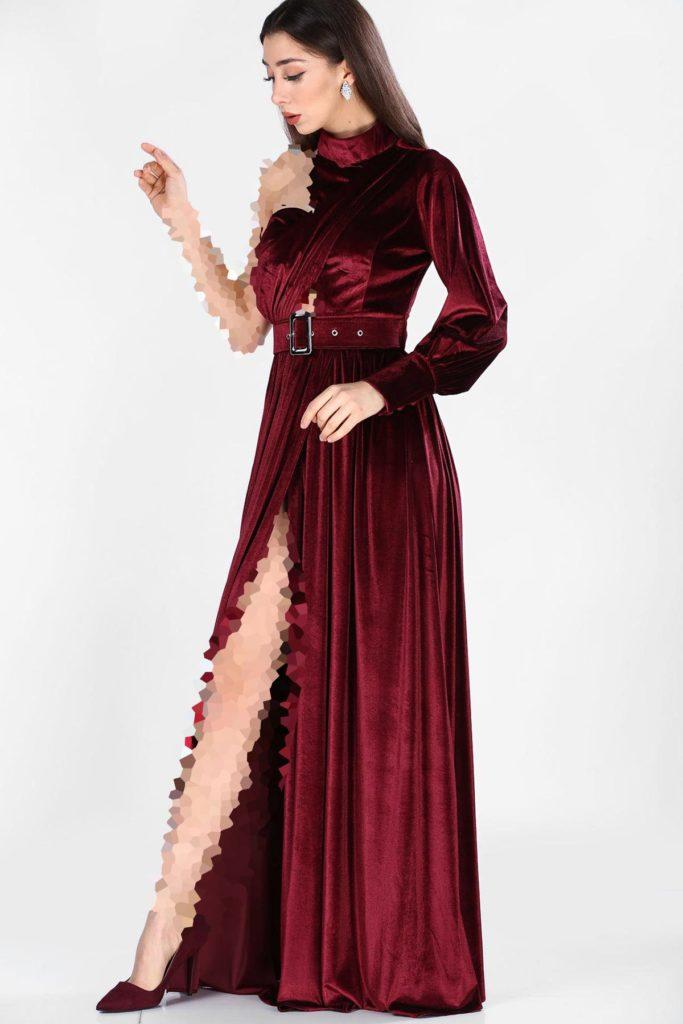 لباس مجلسی مخمل چاکدار