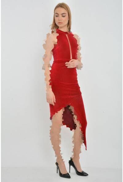 لباس مجلسی مخمل یقه هالتری