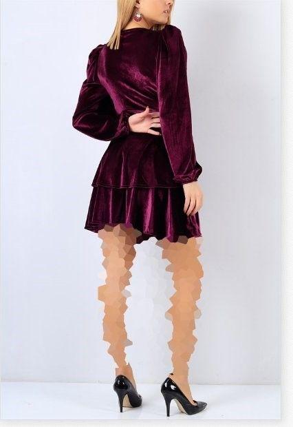 لباس مجلسی مخمل با آستین پفی