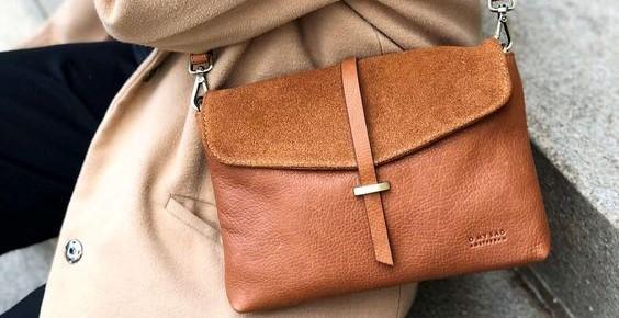 کیف دستی چرم قهوه ای