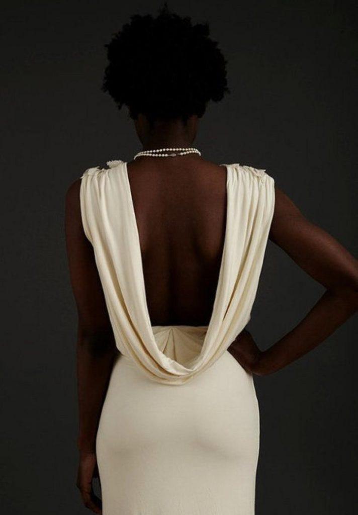 مدل لباس مجلسی کوتاه یقه شل (مدل دراپه)