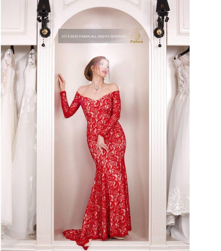 مدل لباس مجلسی گیپور رنگ قرمز