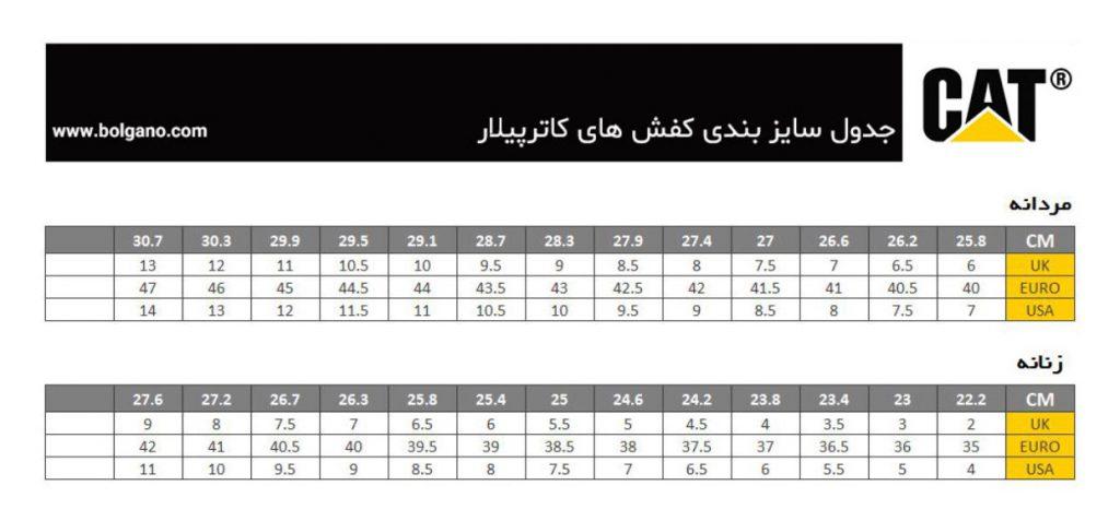 جدول سایزبندی برند کاترپیلار برای تعیین سایز کفش زنانه