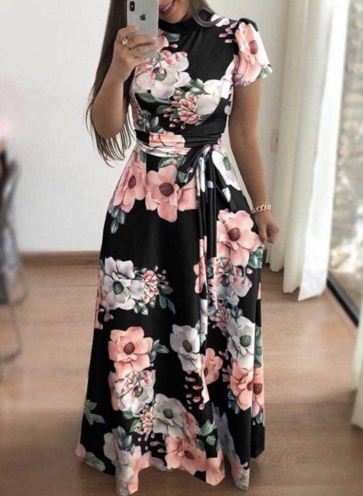 مدل لباس مجلسی با پارچهی گل دار