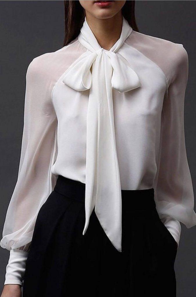 مدل یقه کراواتی در لباس های مجلسی زنانه