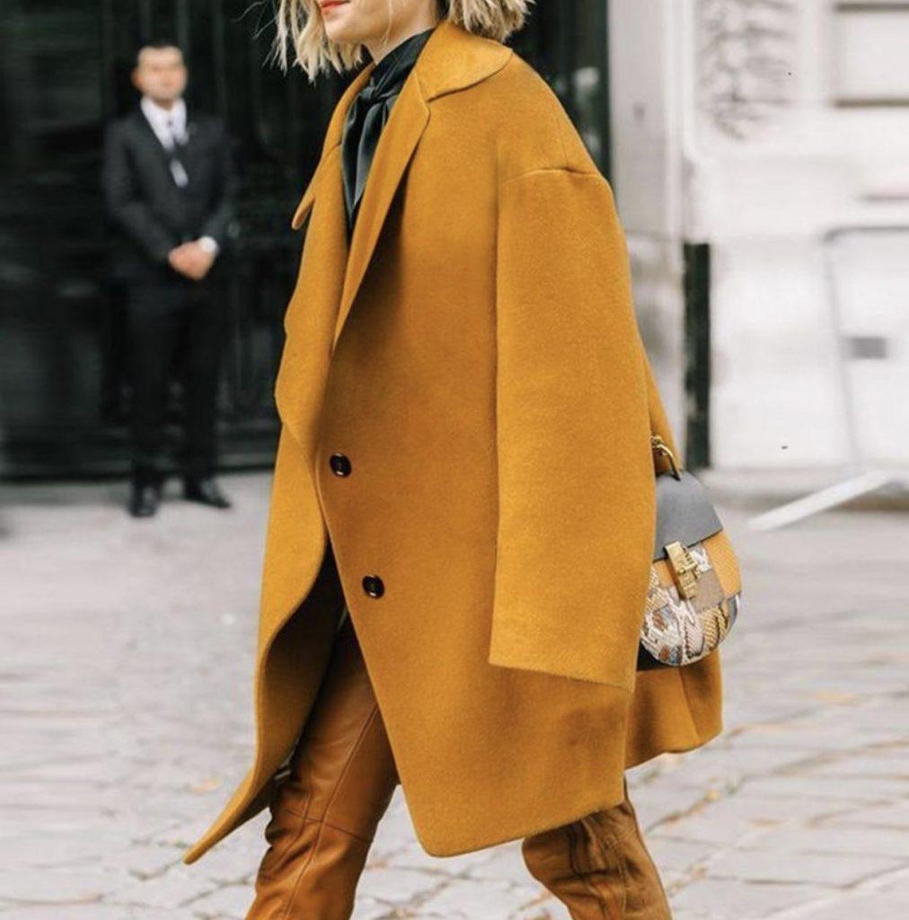 ست کیف پلنگی با مانتوی زرد