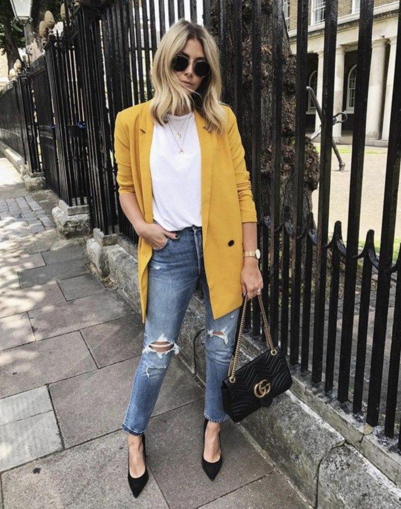 ست شلوار جین با مانتوی زرد