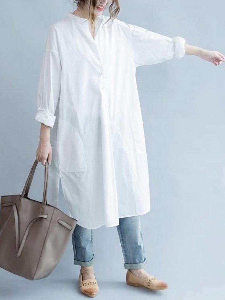 ست جین راسته یا گشاد با مانتوی های جلو بسته سفید