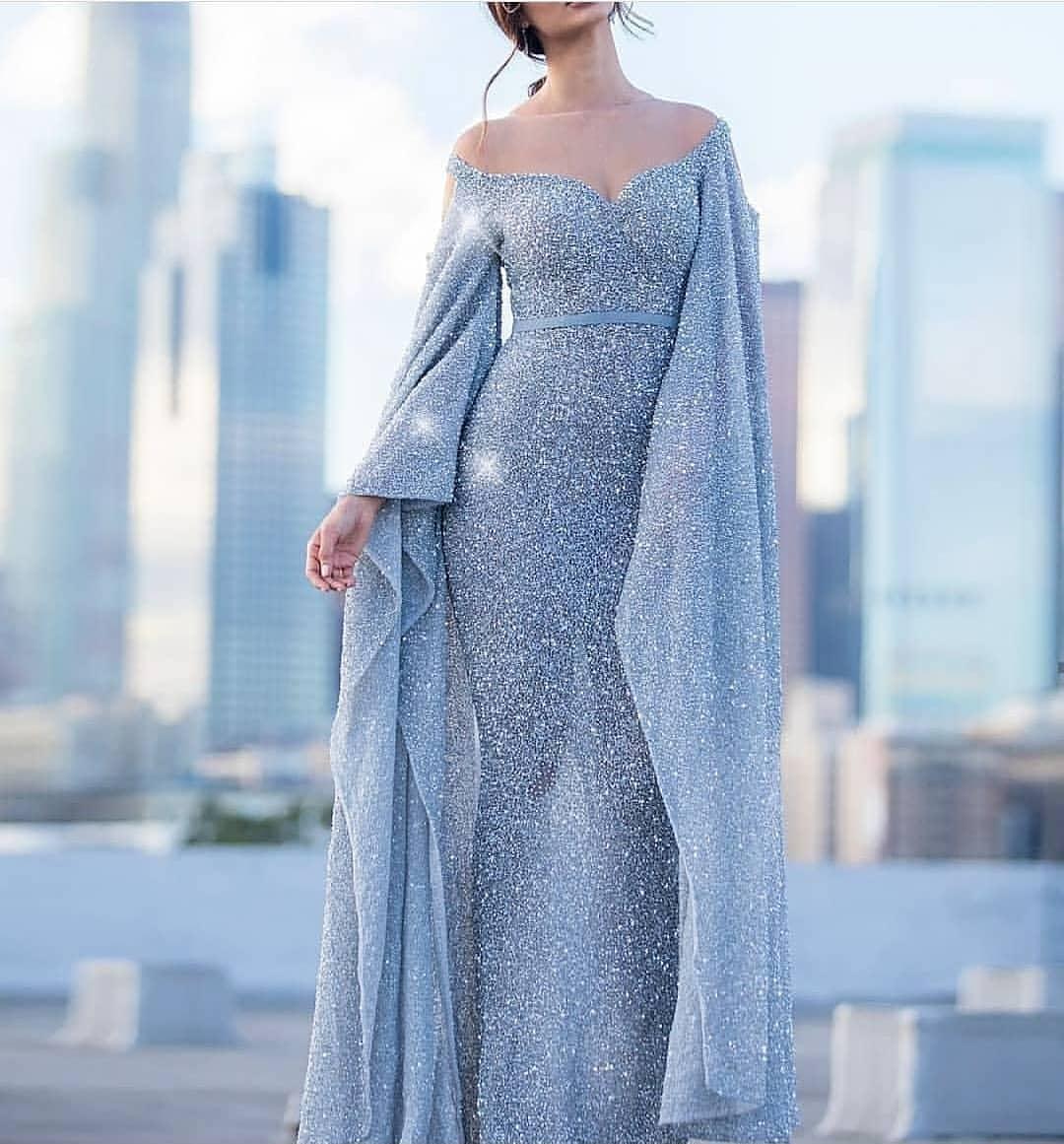مدل لباس مجلسی با پارچهی لمه شنی