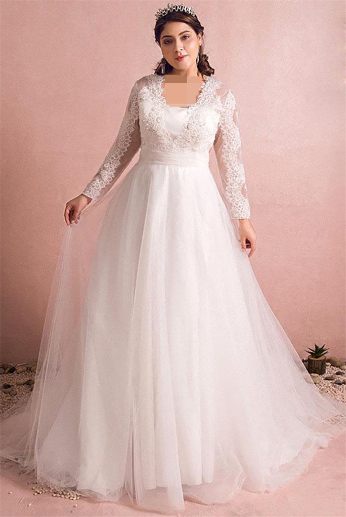لباس عروس آستین بلند برای افراد چاق