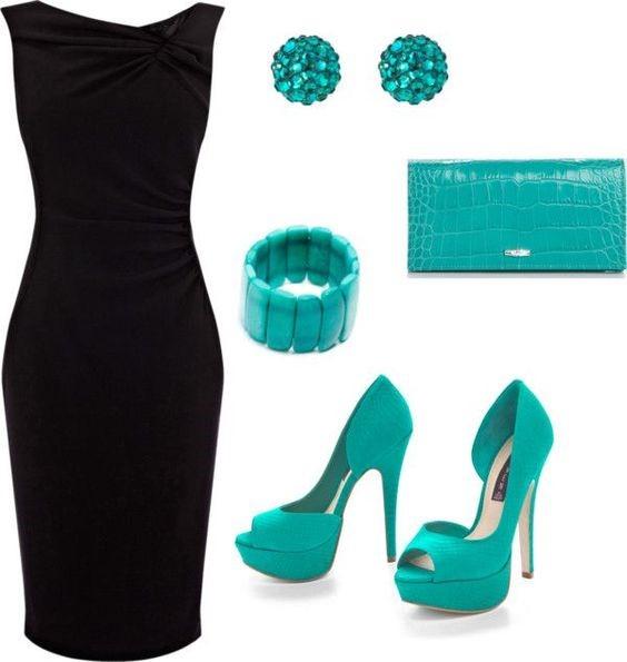 لباس مجلسی مشکی و جزئیات آبی