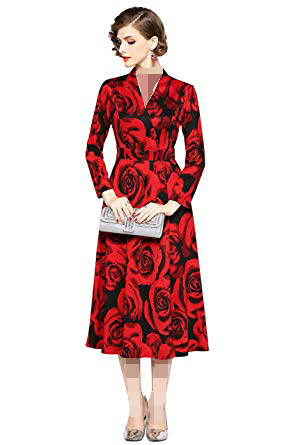 لباس مجلسی قرمز و موی قهوهای